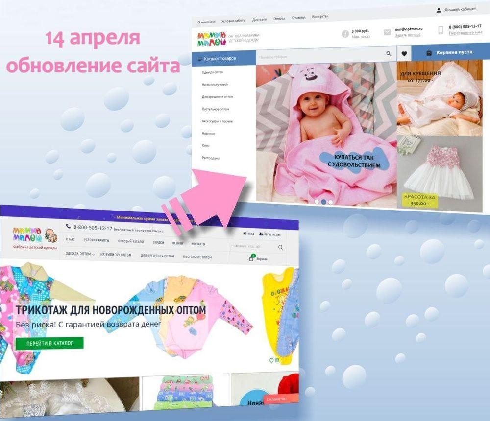 Обновление оптового сайта фабрики Мамин Малыш
