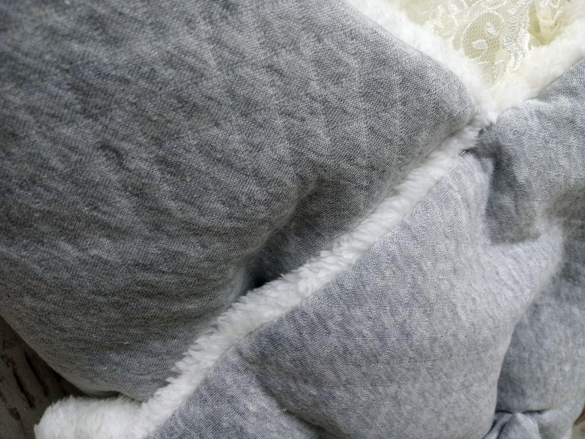 Ткань капитон с мехом, цвет серый