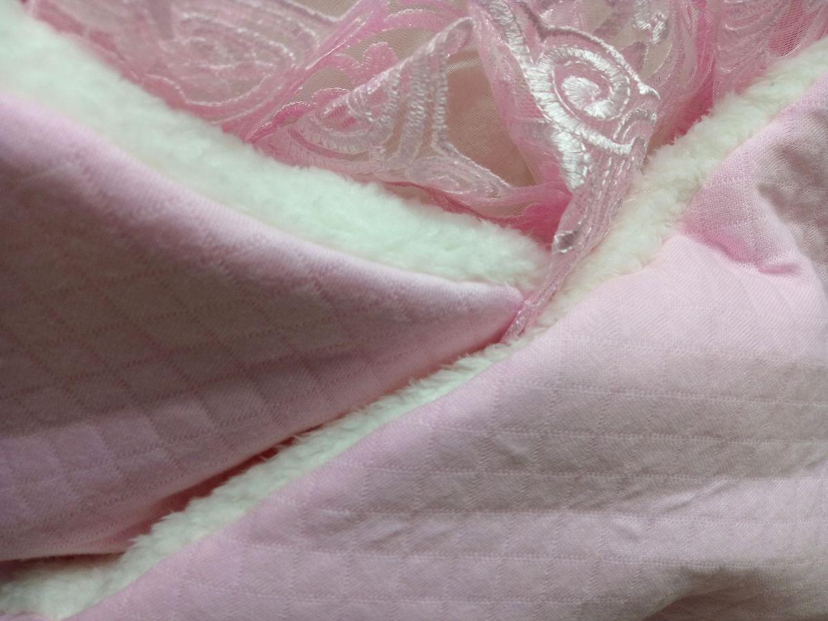 Ткань капитон с мехом, цвет розовый