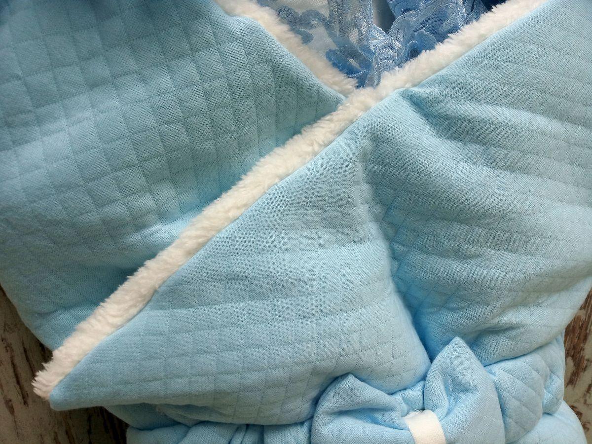 Ткань капитон с мехом, цвет голубой